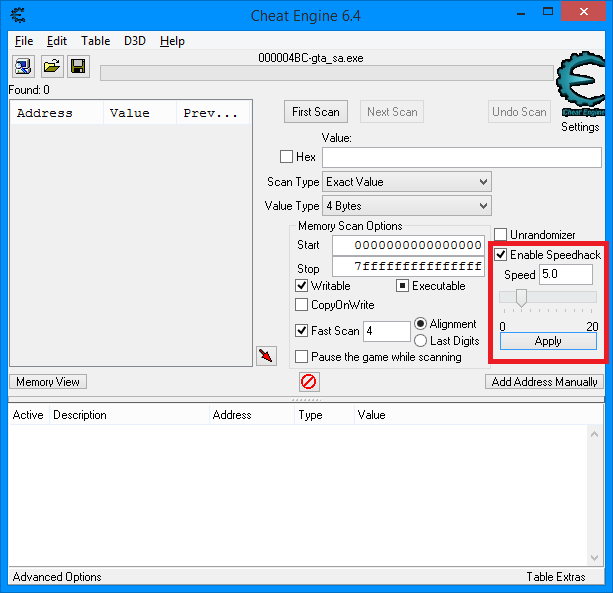 Speedhack v Cheat Engine
