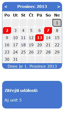 Ukázka kalendáře