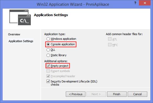 Nastavení projektu C++ ve Visual Studio