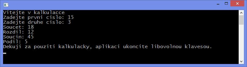 Jednoduchá konzolová kalkulačka vC++