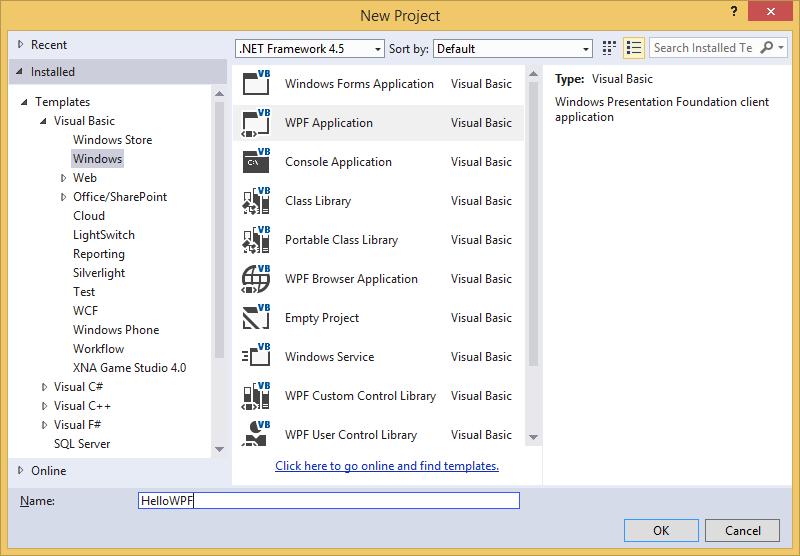 Nový projekt VB.NET WPF aplikace ve Visual Studio