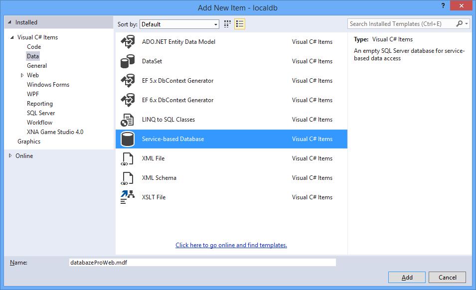 Vytvoření MS-SQL databáze