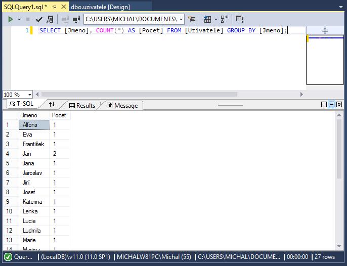 Použití AS uagregační funkce COUNT vMS-SQL databázi