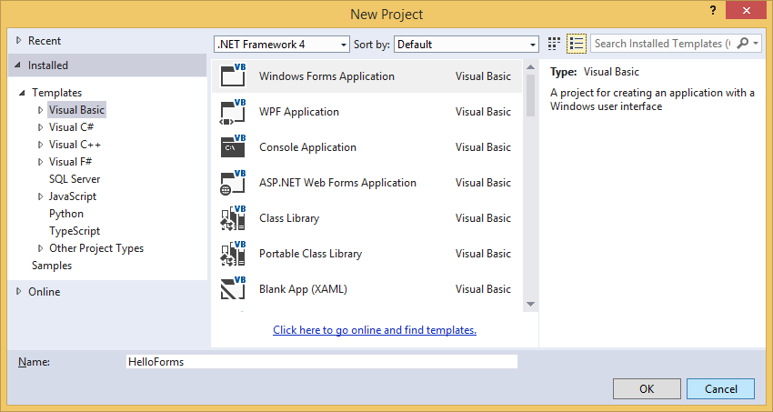 Založení nového projektu Windows Forms ve Visual Studio