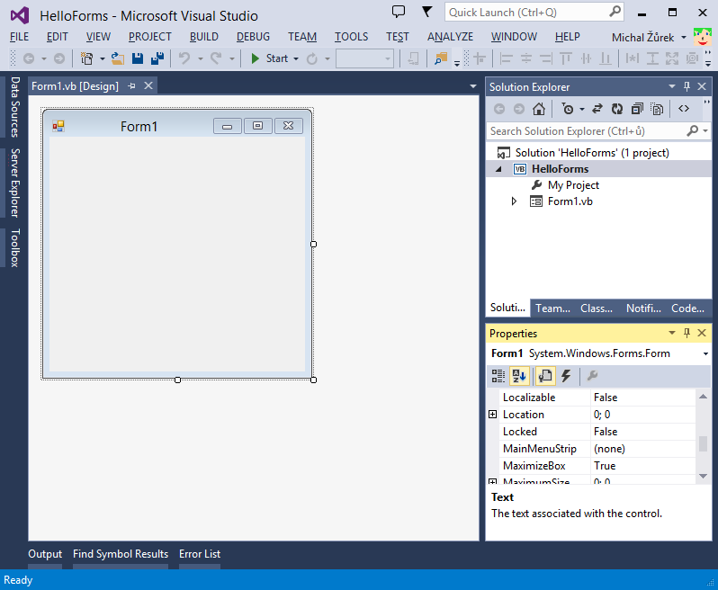 Windows Forms aplikace ve Visual Studio