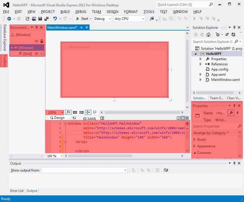 WPF aplikace ve Visual Studio