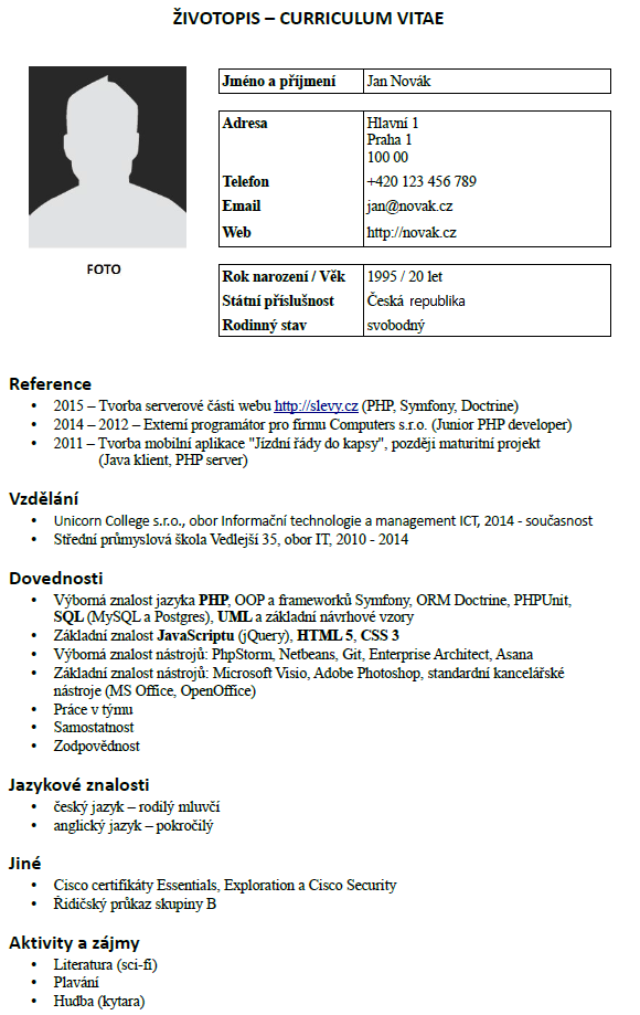 cv for a college student