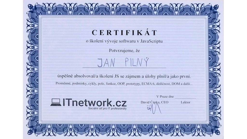 Certifikát ke školení JavaScriptu