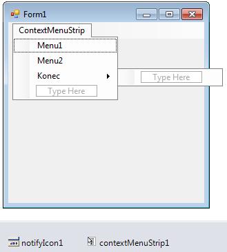 Context menu utray ikony vC# .NET