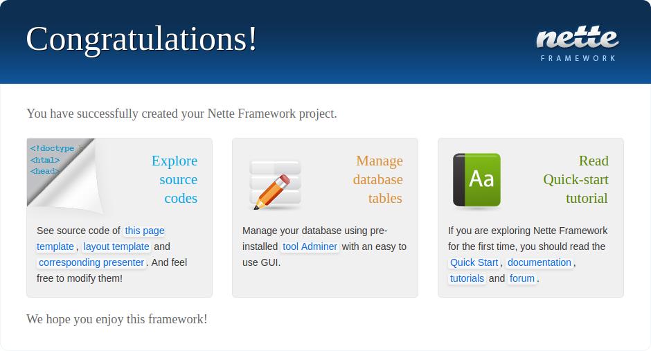 Zprovozněný sandbox vNette frameworku