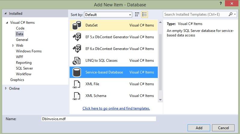 Přidání databázového souboru vC# .NET