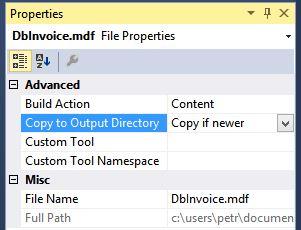 Vlastnosti databáze vC# .NET